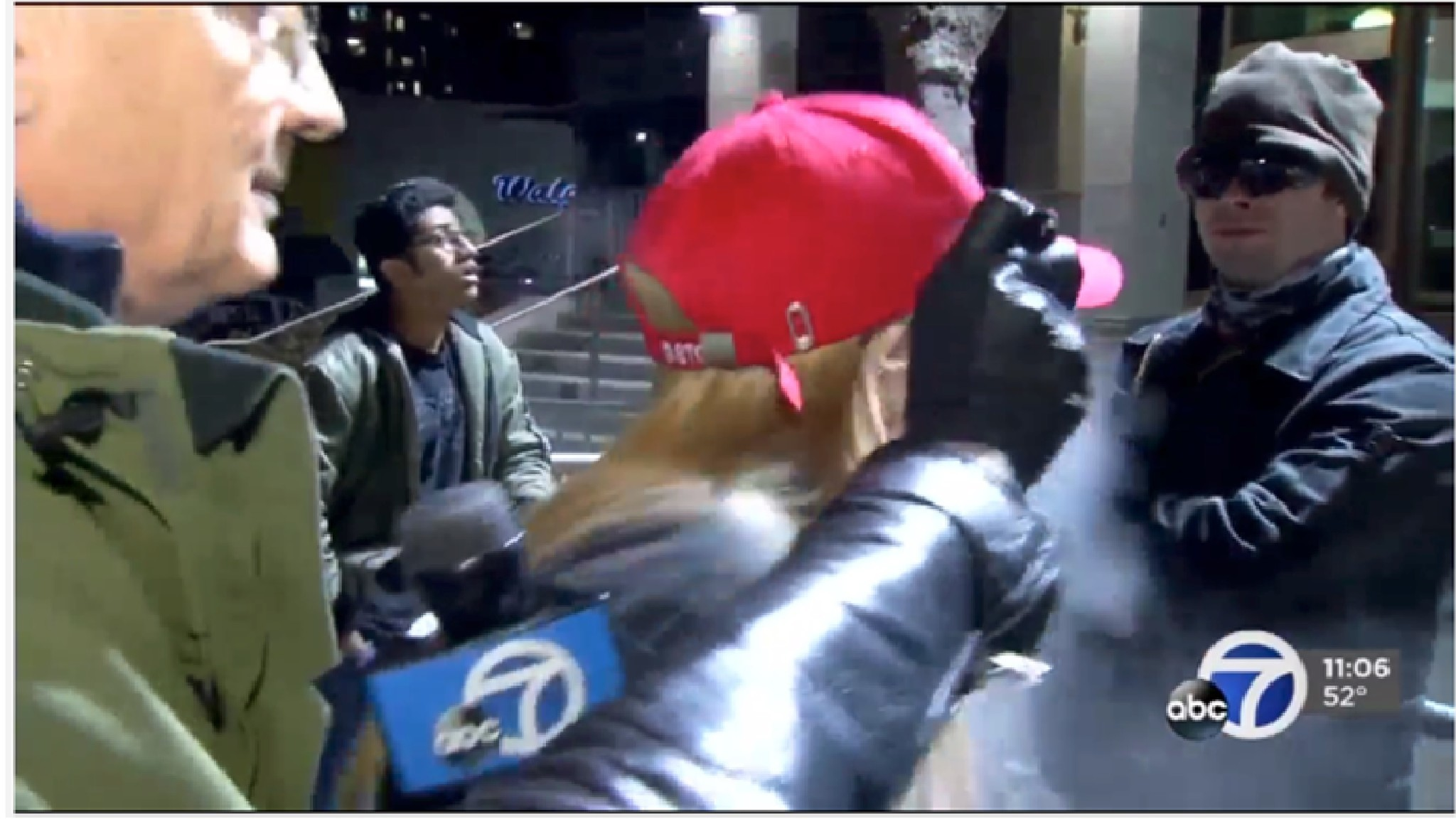 Kiara Robles is attacked with pepper spray during a news interview.