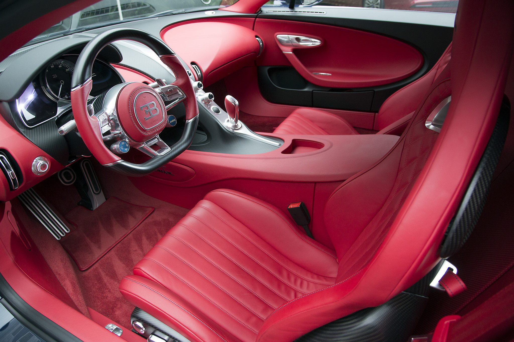 The interior of the Bugatti Chiron is available in 31 leather colors. Each hand-stitched interior requires 16 hides to complete.