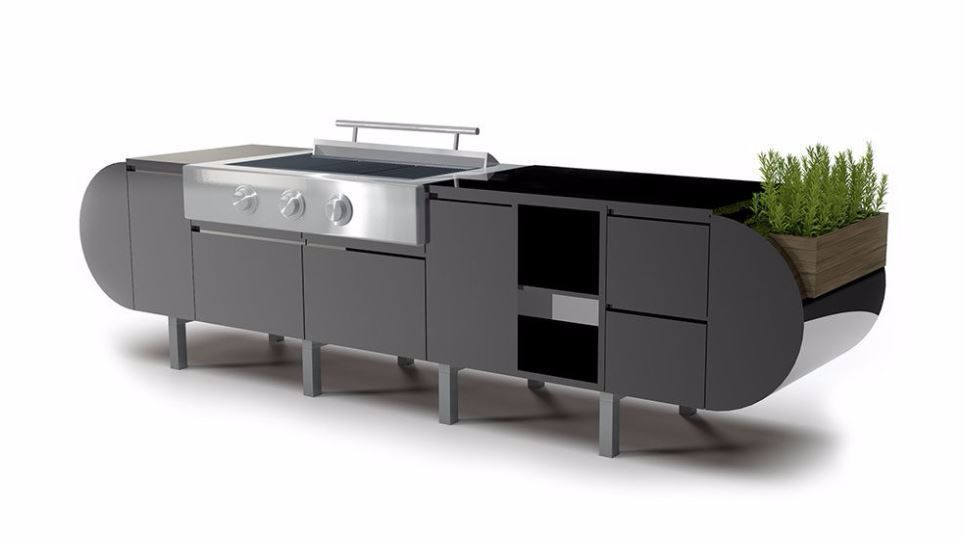 The ASA-D2 modular outdoor kitchen by Brown Jordan Outdoor Kitchens.