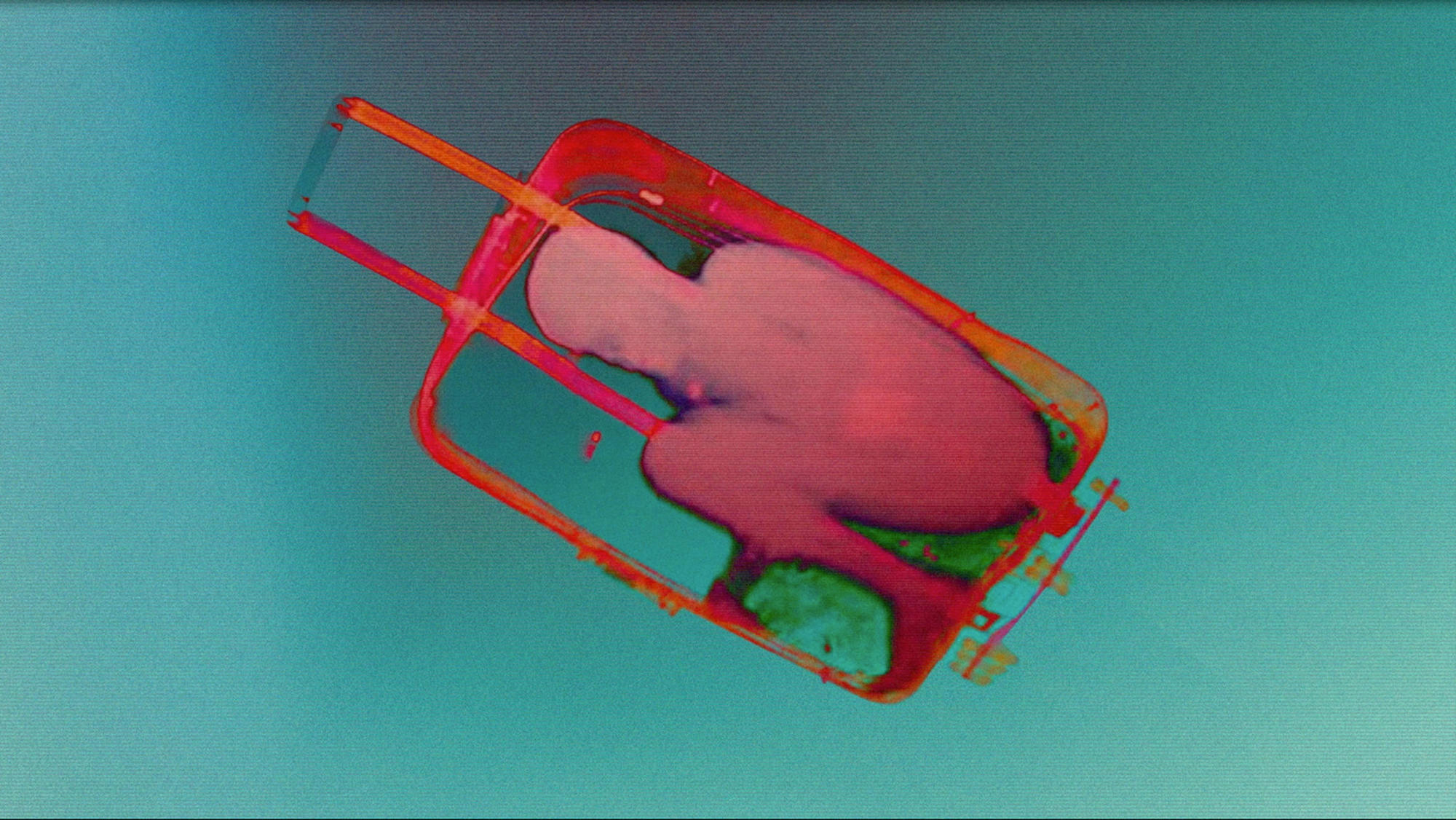 """Boy in Suitcase"" (2015) by Julio César Morales, from a series that examines the ways in which immigrants are smuggled."