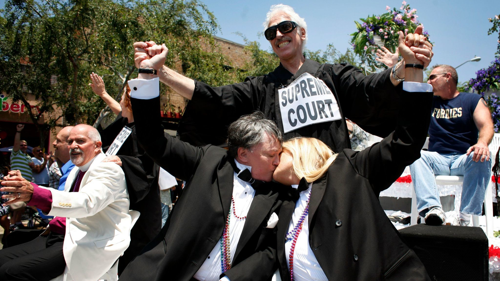 Robin Tyler and Diane Olsen celebrate the Supreme Court decision to legalize gay marriage by riding on a wedding float together on June 8, 2008.