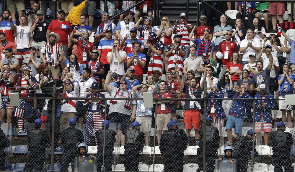 U.S. fans at Estadio Azteca. (Rebecca Blackwell / Associated Press)