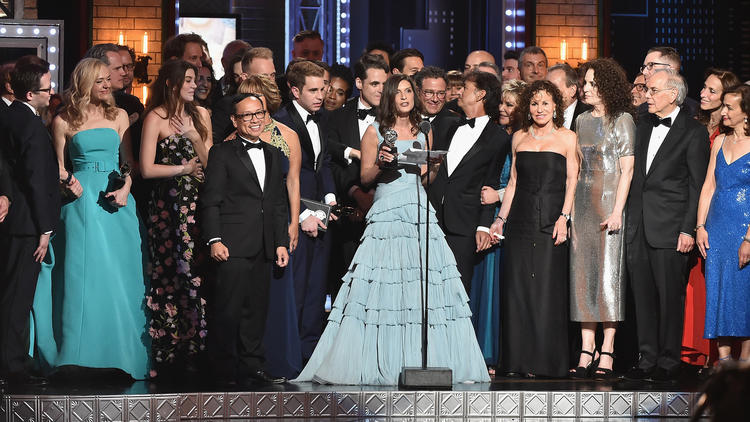 "Producer Stacey Mindich, at the mike, and the cast of ""Dear Evan Hansen"" accept the award for best m"