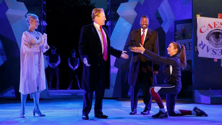 Gregg Henry, center left, portrays a Trump-like Julius Caesar in the Public Theater's Shakespeare in
