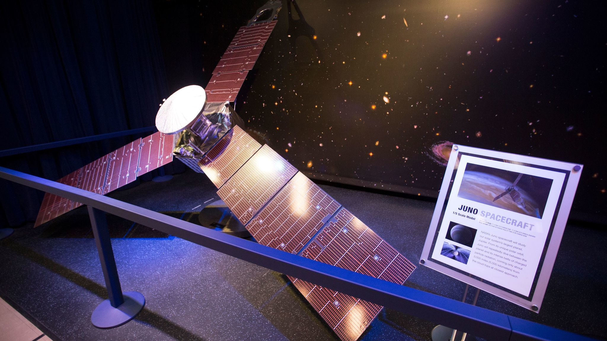 Finley helped design the tones for the Juno spacecraft, a model of which is on display at JPL.