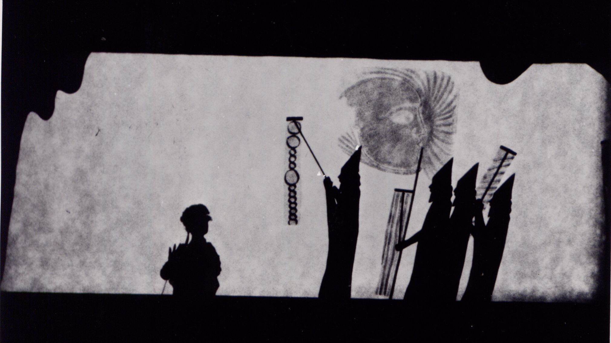"The original shadow puppet performance of ""Young Caesar"" at Caltech in 1971."
