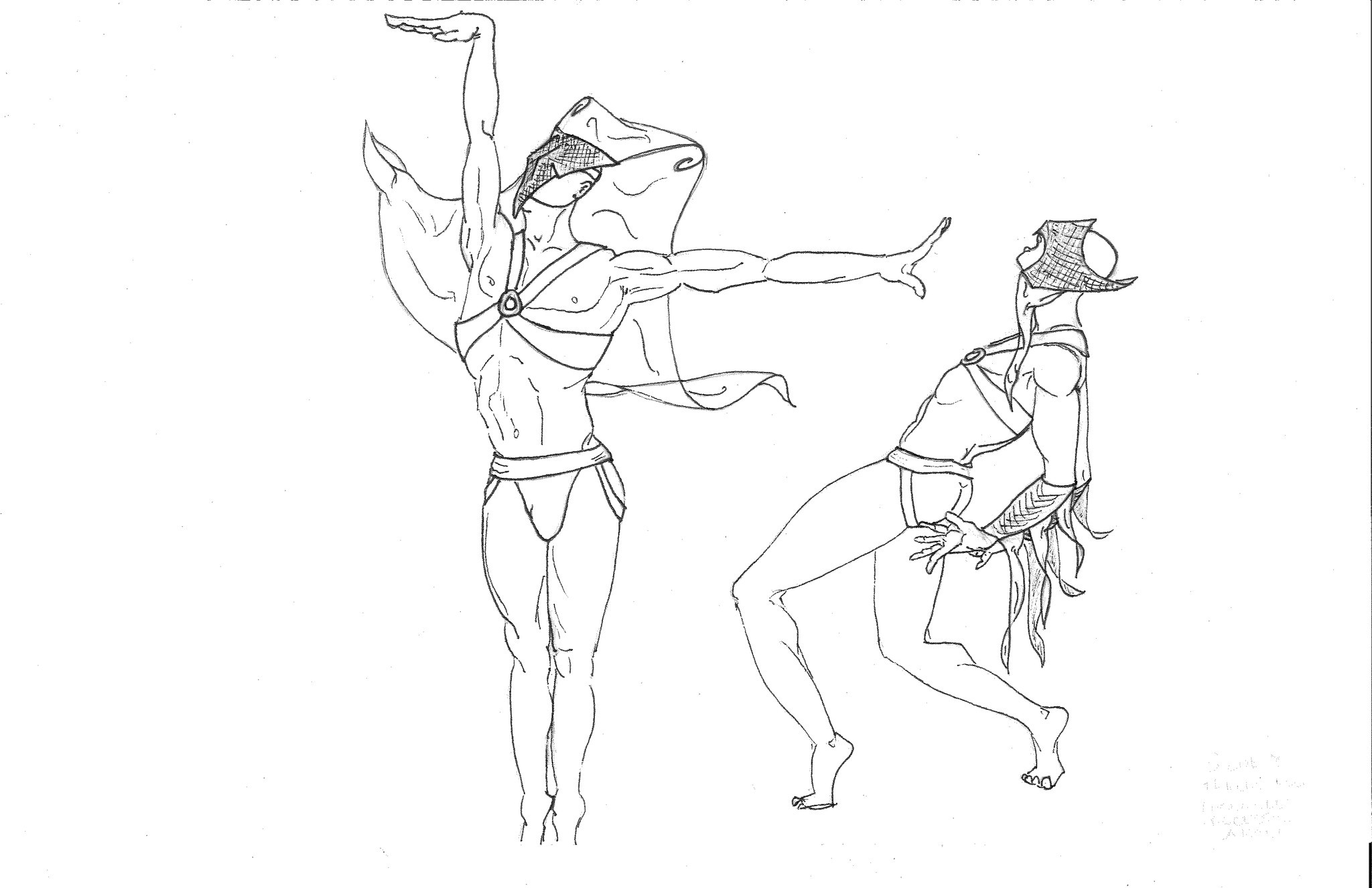 "Daniel Selon's costume sketches for the new production of ""Young Caesar."""