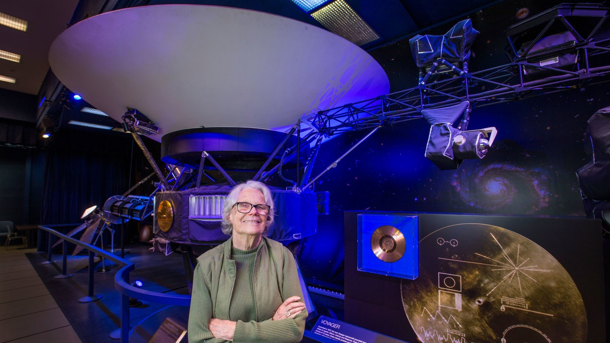 Finley, 80, shown next to a model of the Voyager 1 space probe. She worked on Voyager in the 1970s.