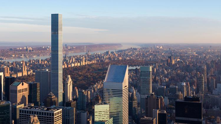 Rafael Viñoly's 432 Park Avenue tower emerges from the Midtown Manhattan skyline.