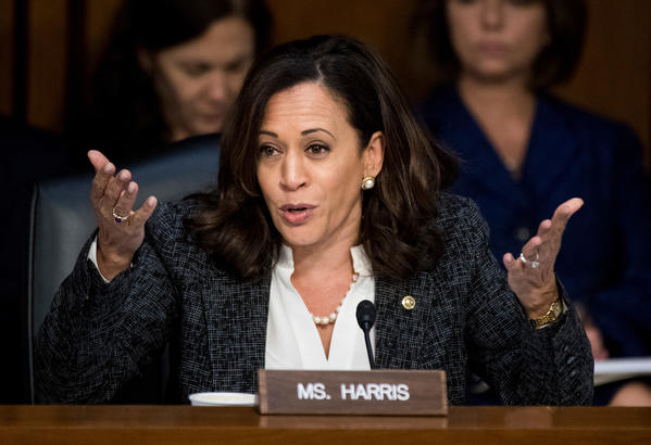 Sen. Kamala Harris questions former FBI Director James Comey at a Senate committee hearing on June 8