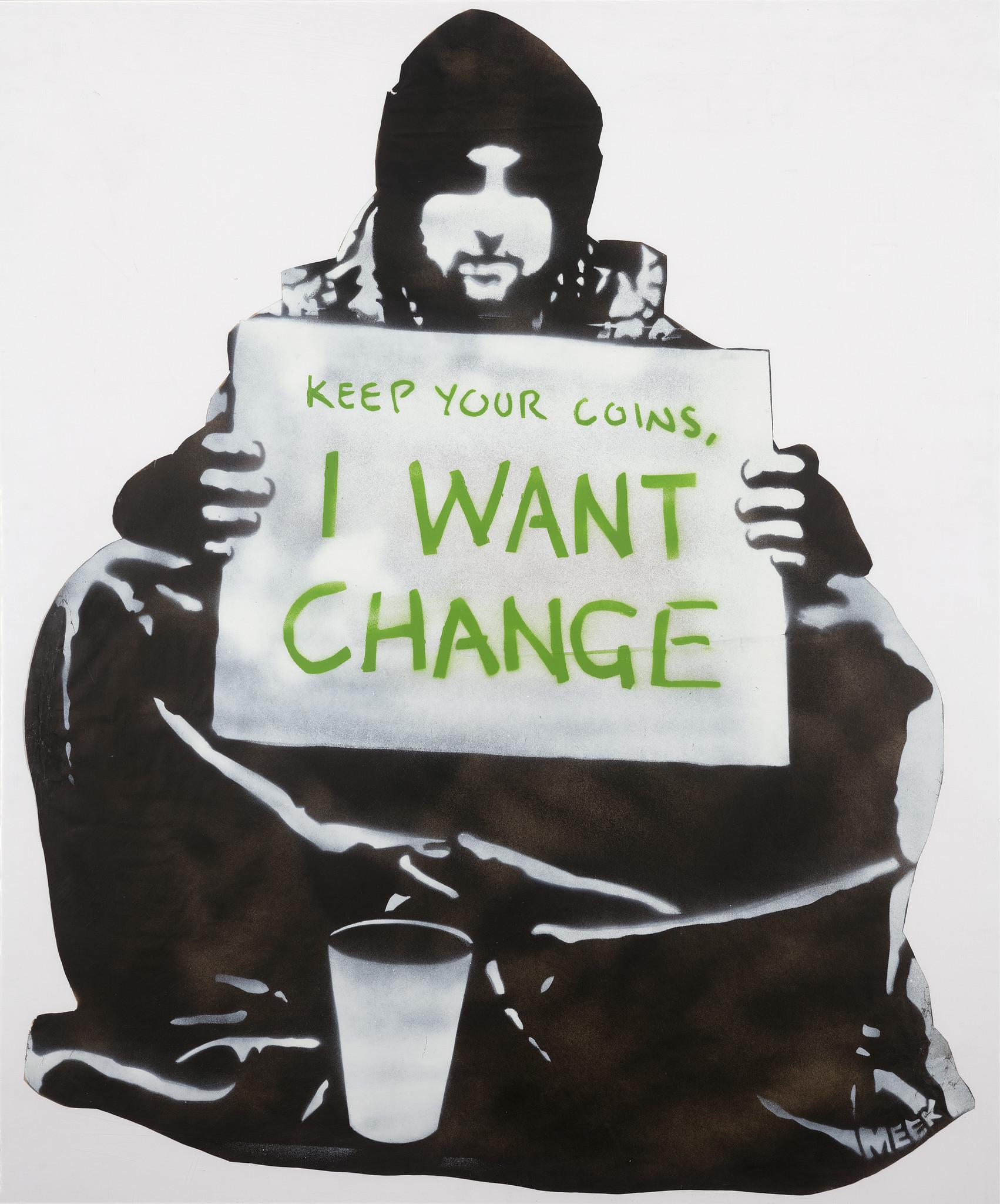 """Begging for Change,"" Meek, stencil, 2004, Melbourne, Australia."