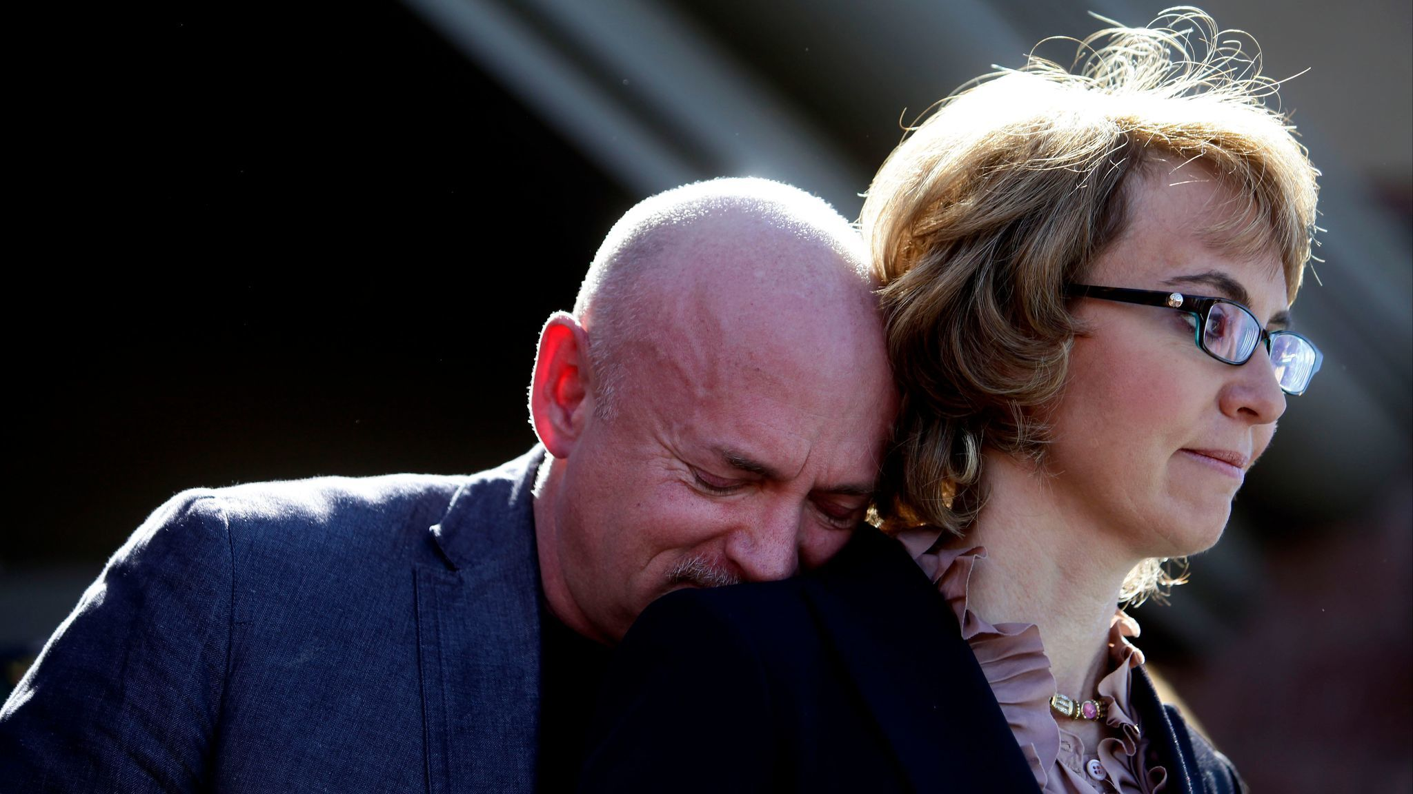 Former U.S. Rep. Gabby Giffords of Arizona and her husband, Mark Kelly, at a 2013 news conference in Tucson where they asked Congress to pass stricter gun control legislation