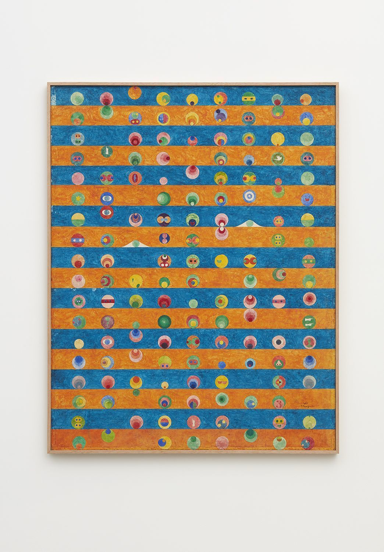 "Tatsuo Kawaguchi, ""Inorganic Substance,"" 1964; watercolor on Paris white over hemp cloth"