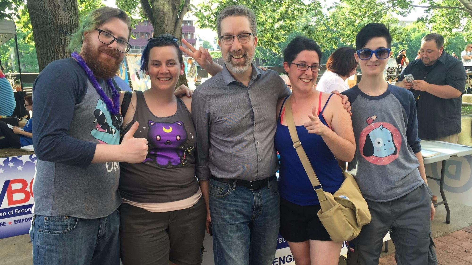 Madden with would-be constituents at Pride Palooza in Binghamton, N.Y. (Laura Lee Intscher)