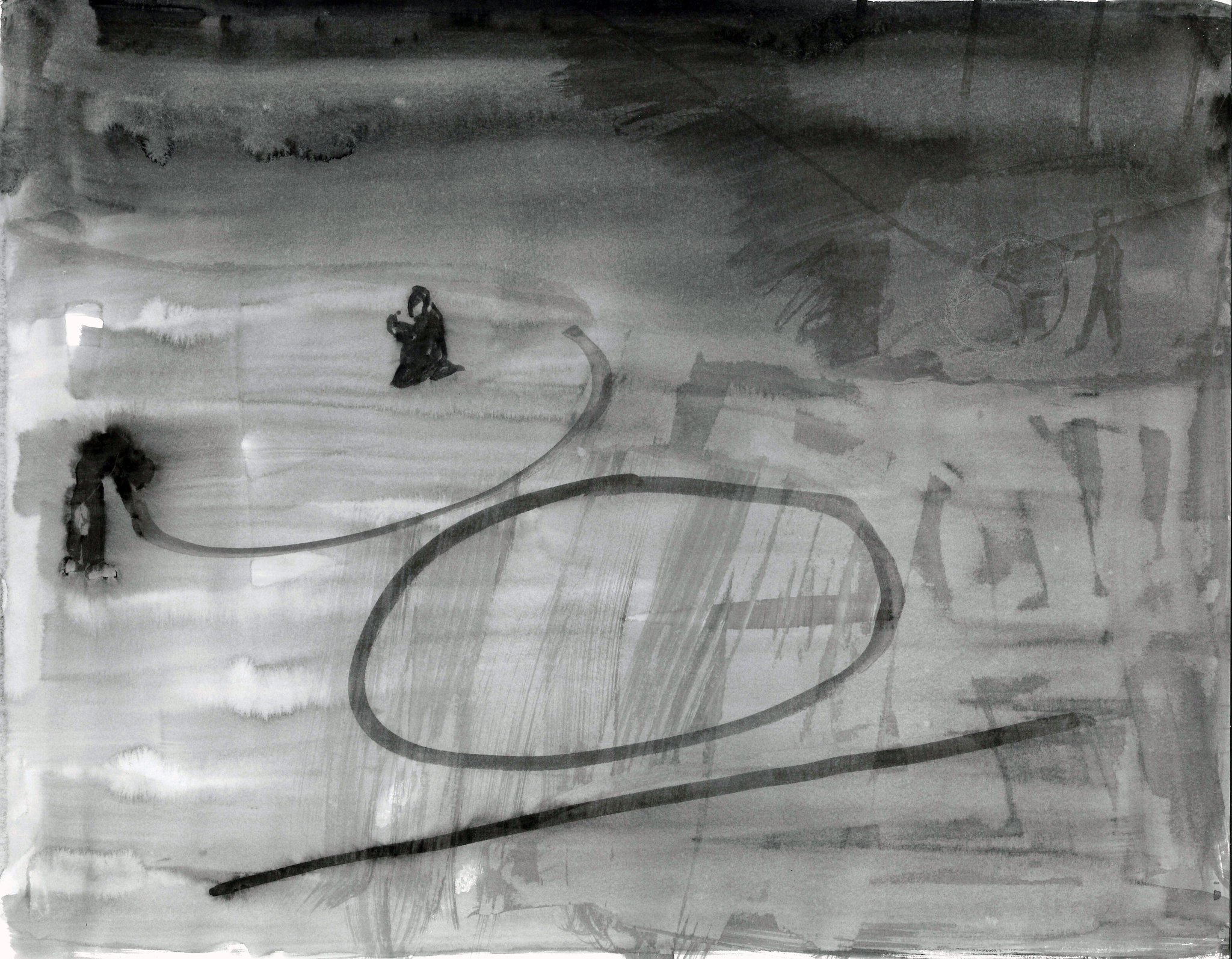 """Sketch for Schattentheater (Chalk circles),"" a sketch by Silke Otto-Knappe at REDCAT."