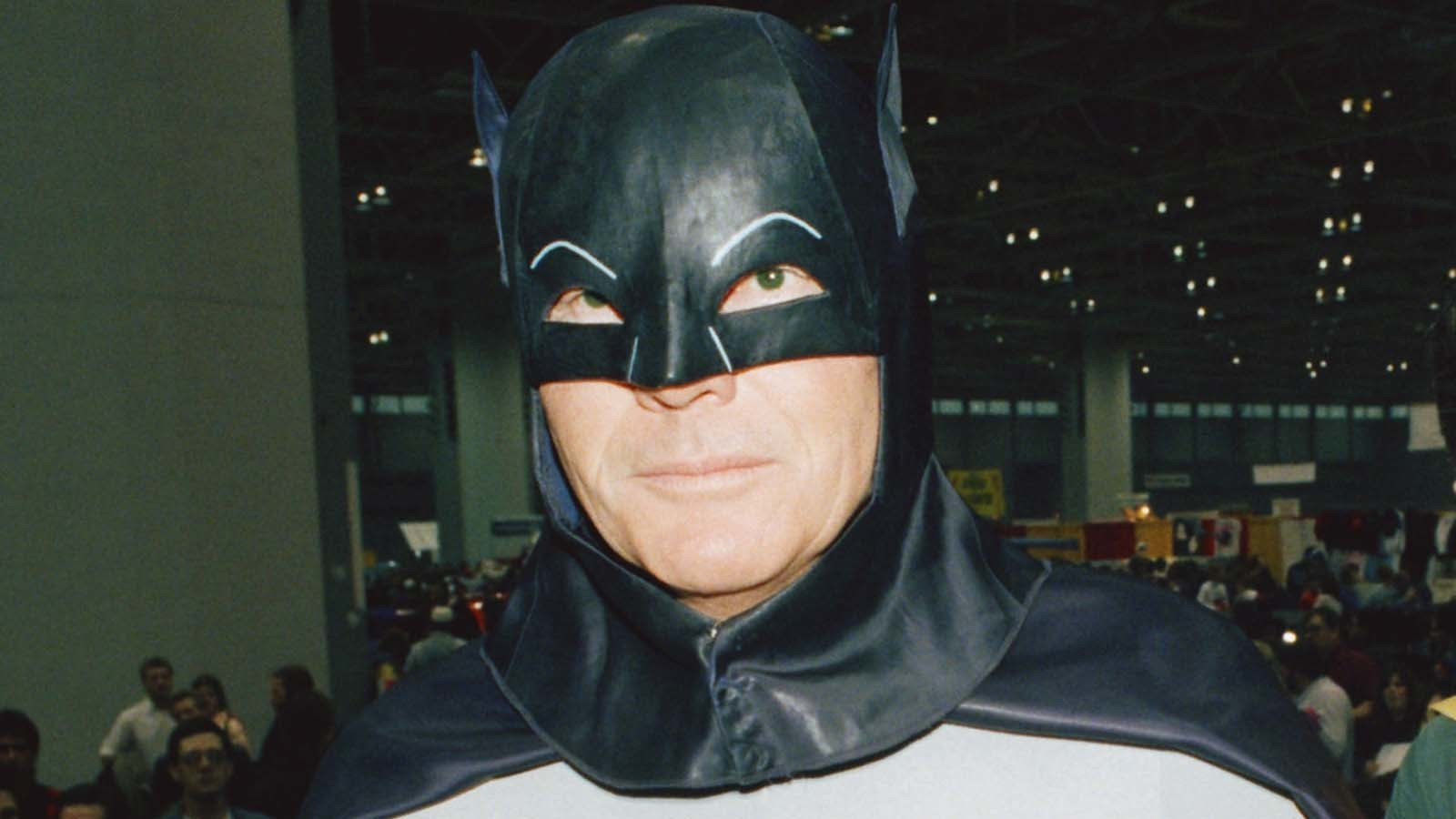 Los Angeles illuminated by Bat-Signal for Adam West