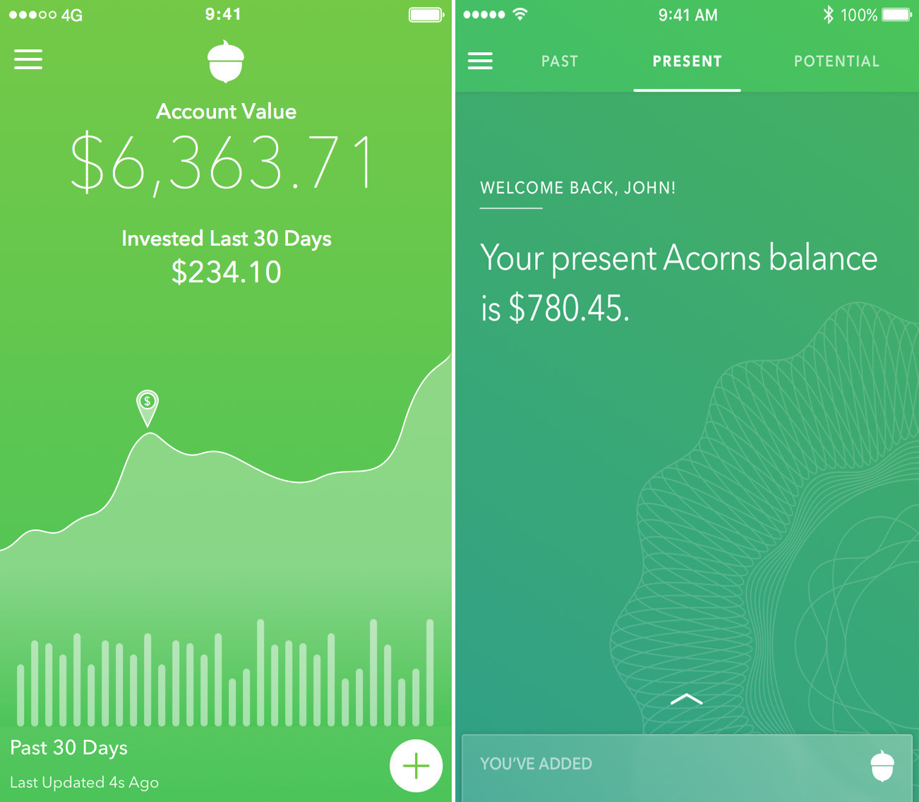 Acorns' old home screen, left, showed how a customer's balance had grown over the last 30 days. The new home screen, right, has no chart -- a change that behavioral economist Shlomo Benartzi said is meant to de-emphasize short-term thinking.