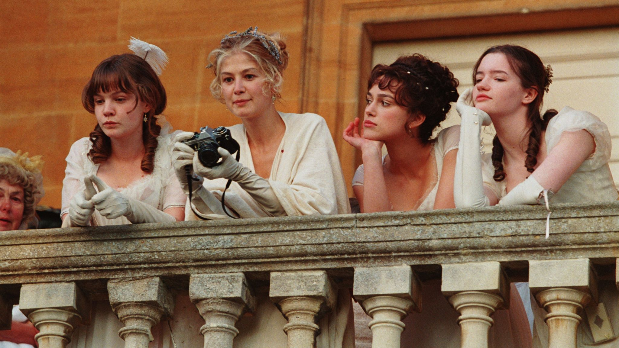 """From left: Carey Mulligan, Rosamund Pike, Keira Knightley and Talulah Riley on the set of """"Pride & Prejudice."""""""