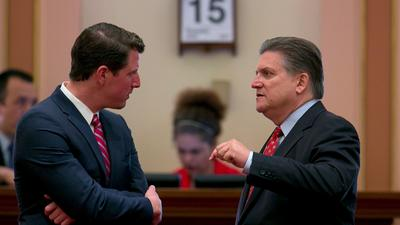 Sen. Henry Stern (D-Los Angeles), left, was the author of the failed bill. (Rich Pedroncelli / Associated Press)