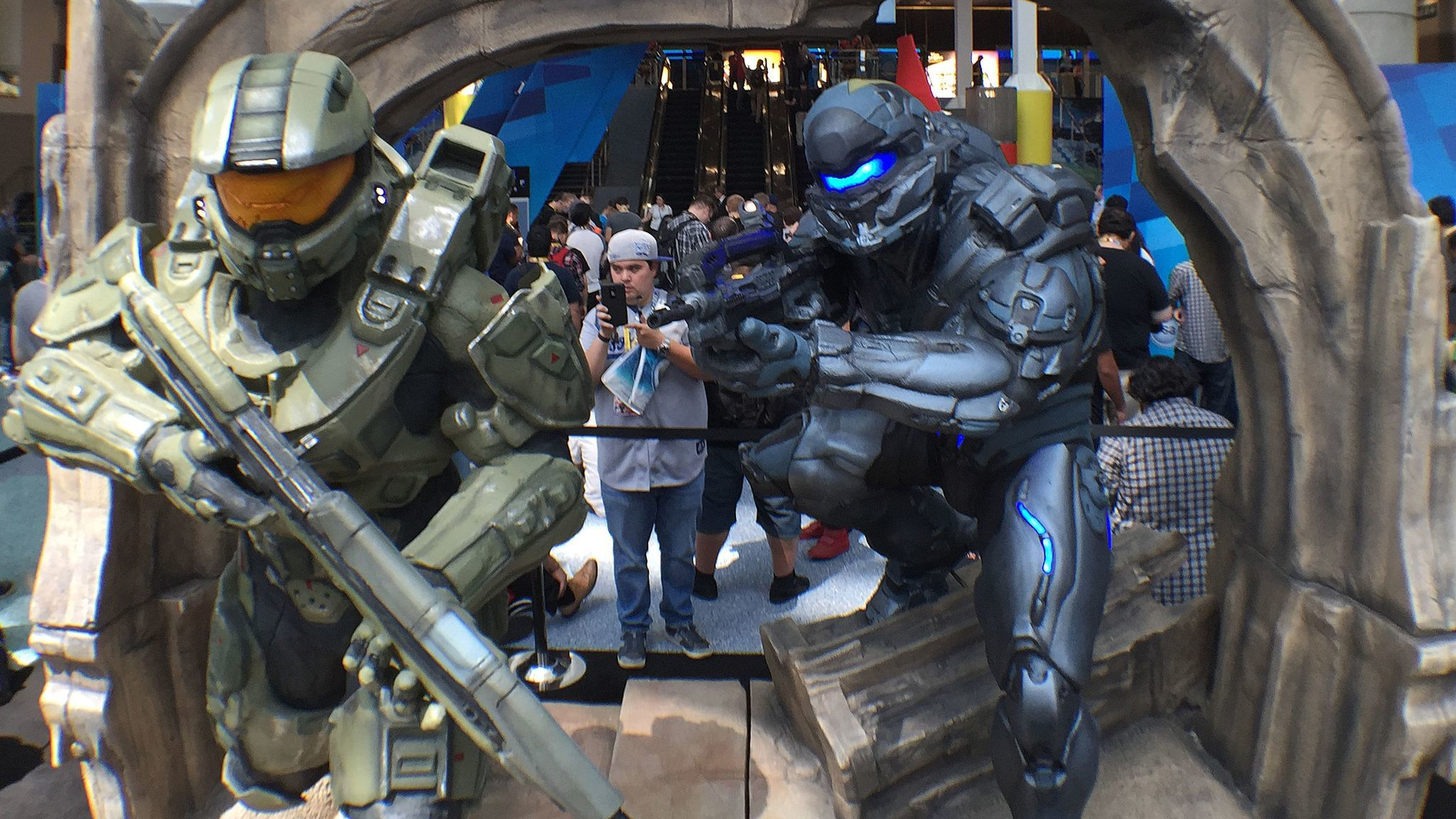"A display for ""Halo 5: Guardians"" at a video game convention in Los Angeles."