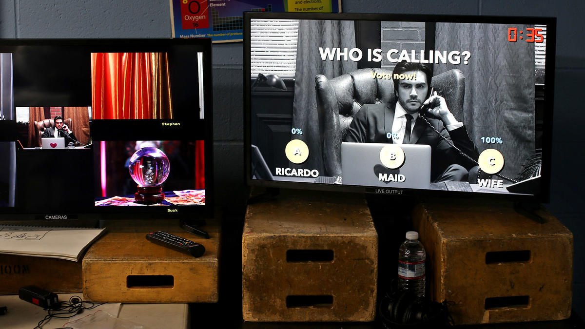 "The screen at right shows the Facebook Live audience voting during a scene in Super Deluxe's ""El Hogar Es Donde Esta La Casa."""