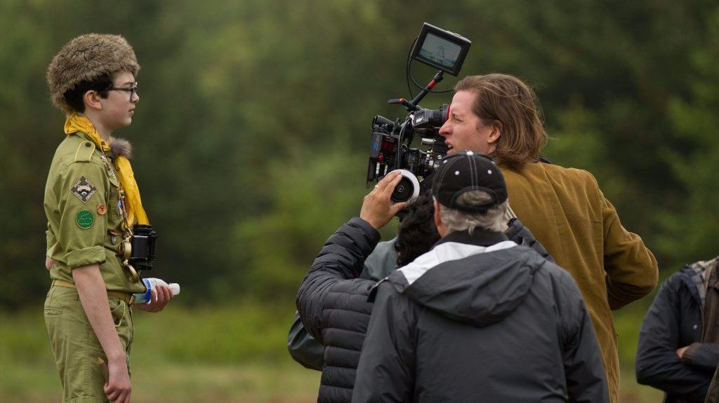 """Jared Gilman, left, and director Wes Anderson on the set of """"Moonrise Kingdom."""""""