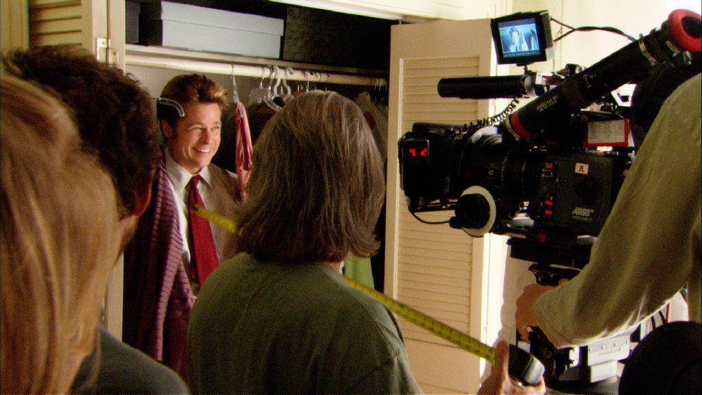 "Brad Pitt on the set of ""Burn After Reading."""