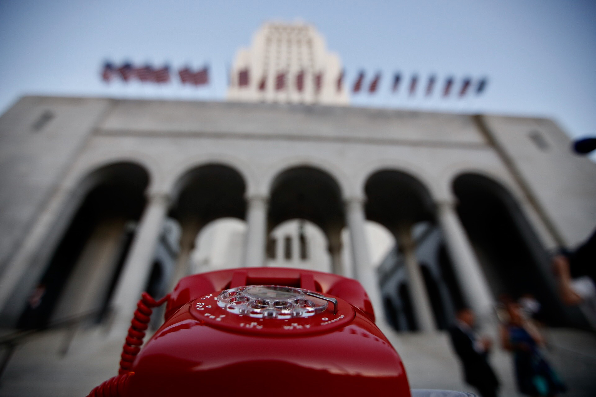 A Bat phone stand-in awaits the commissioner's call in front of L.A. City Hall during a tribute to Adam West on June 15. (Francine Orr / Los Angeles Times)