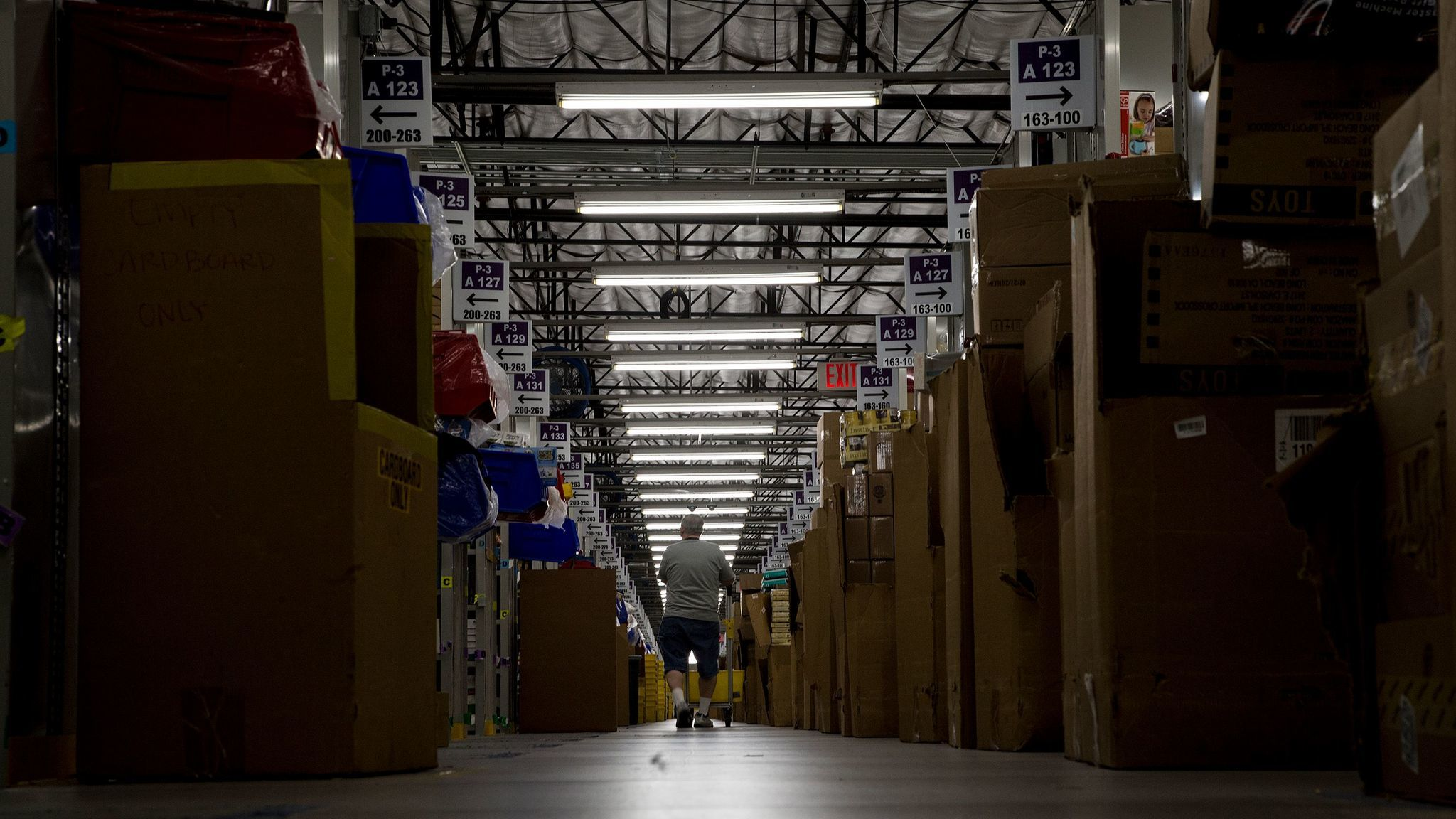 A worker collects items for customer orders on Cyber Monday at an Amazon warehouse in San Bernardino. (Gina Ferazzi / Los Angeles Times)