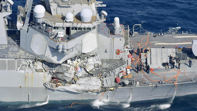 The U.S. Navy destroyer Fitzgerald after a collision with the Philippine-flagged merchant ship ACX Crystal in June. (Associated Press)