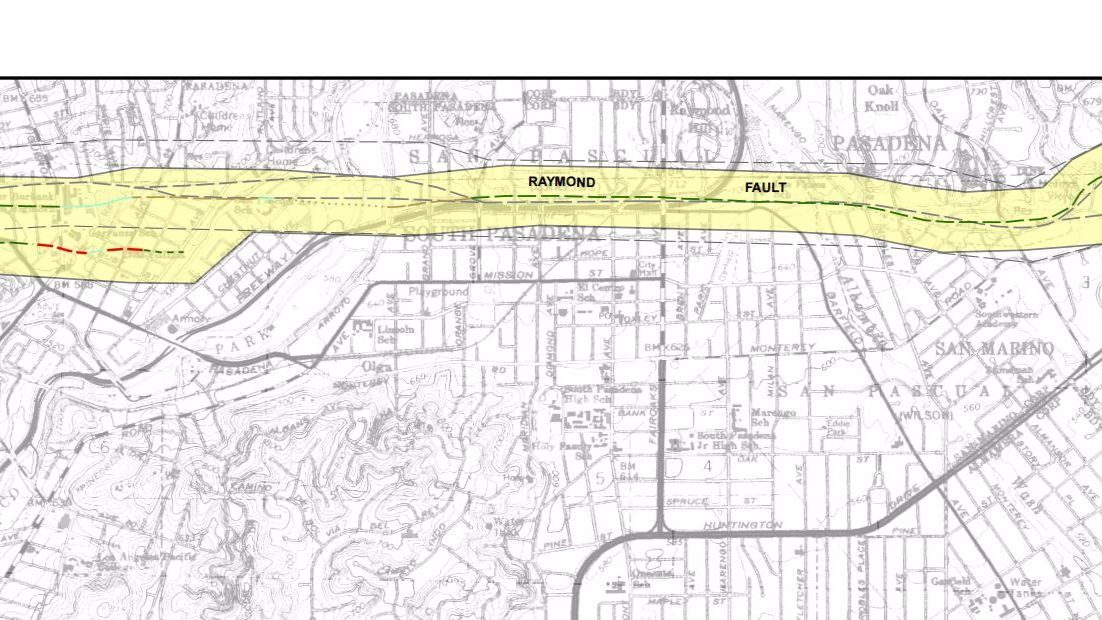 The Raymond fault runs through Highland Park into South Pasadena in the area where the 110 Freeway crosses underneath Fair Oaks Avenue