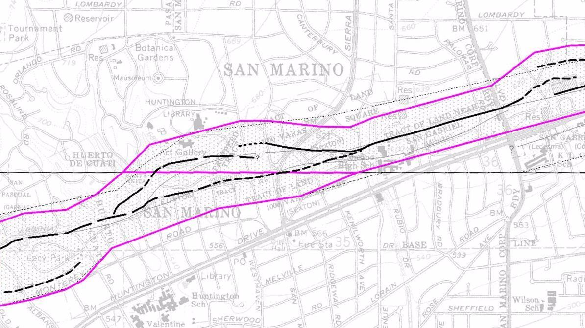 The Raymond fault cuts through Lacy Park and the Huntington Library campus in San Marino.