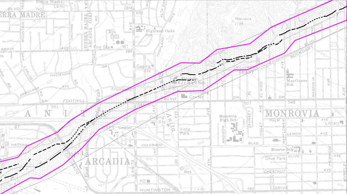 The Raymond fault crosses into Monrovia.