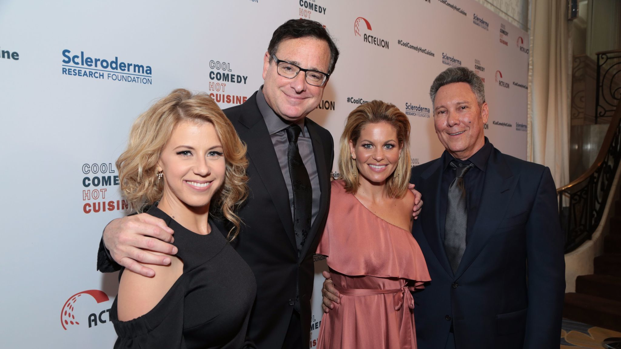 Jodie Sweetin, left, Bob Saget, Candace Cameron Bure and Jeff Franklin.