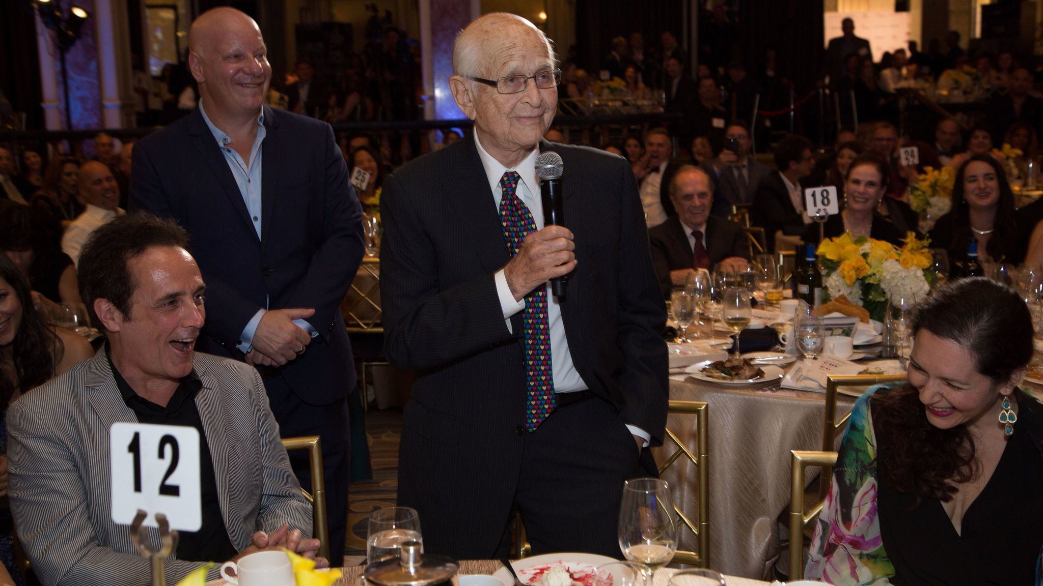 Norman Lear speaks during the Cool Comedy Hot Cuisine charity event.
