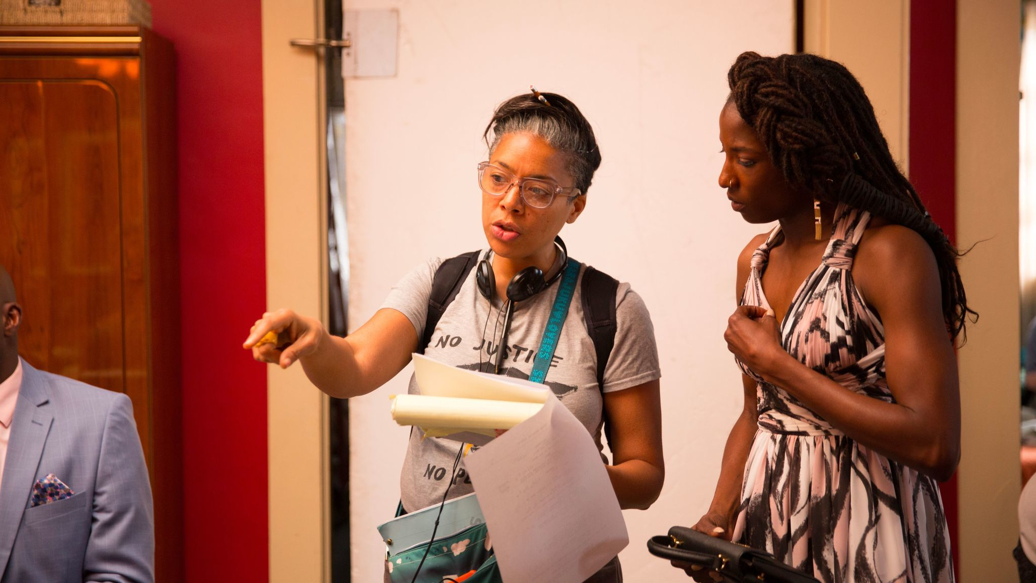"DeMane Davis, left, directs actress Rutina Wesley in an episode from Season 2 of ""Queen Sugar"""