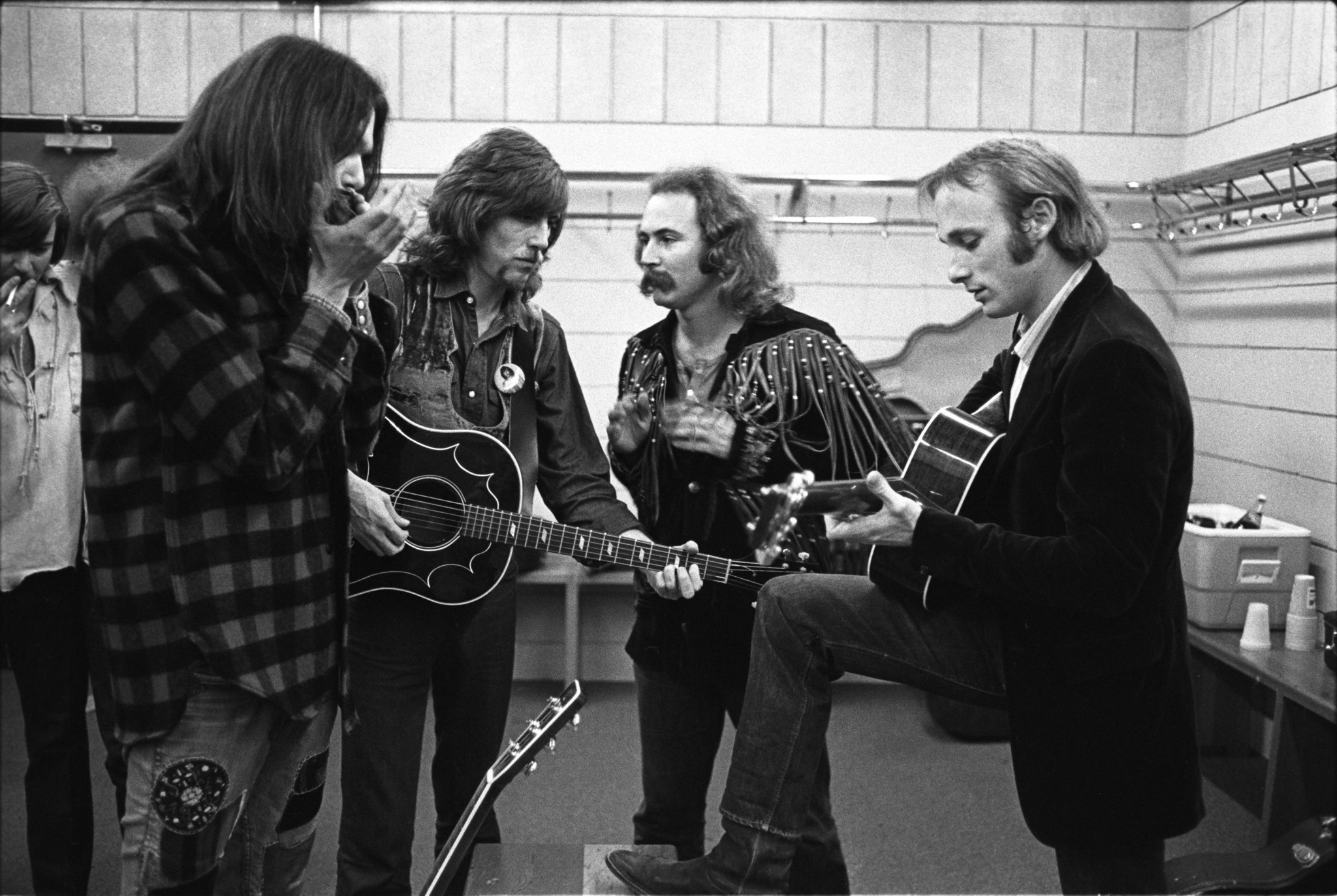 Neil Young, left, Graham Nash, David Crosby and Stephen Stills — CSN&Y, 1970.