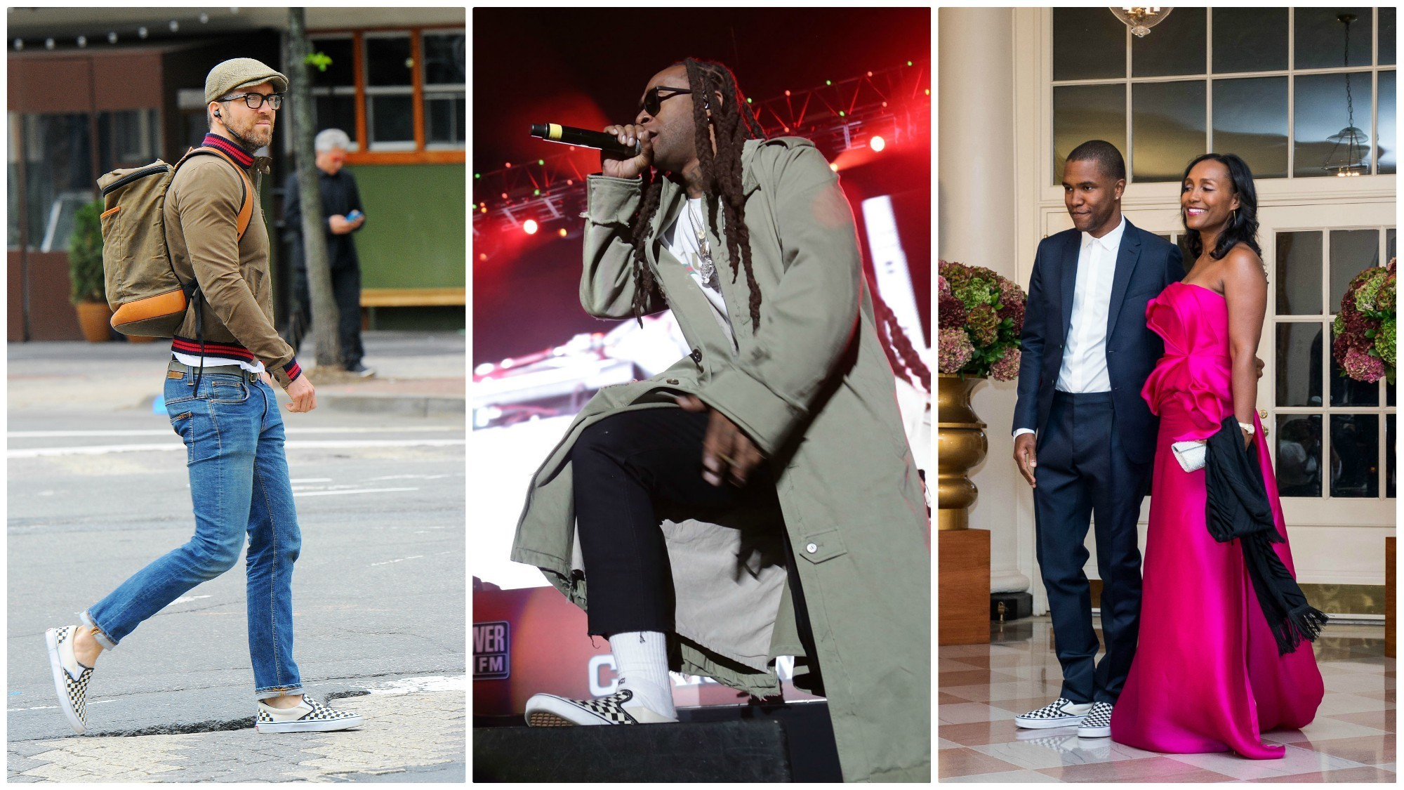 Ryan Reynolds, from left, Ty Dolla Sign and Frank Ocean have embraced the checkerboard Vans slip-on.