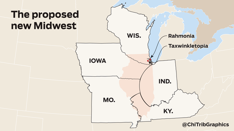 John Kass's modest proposal for the dissolution of Illinois: Carve up the failed state and let the rest of the Midwest have it.