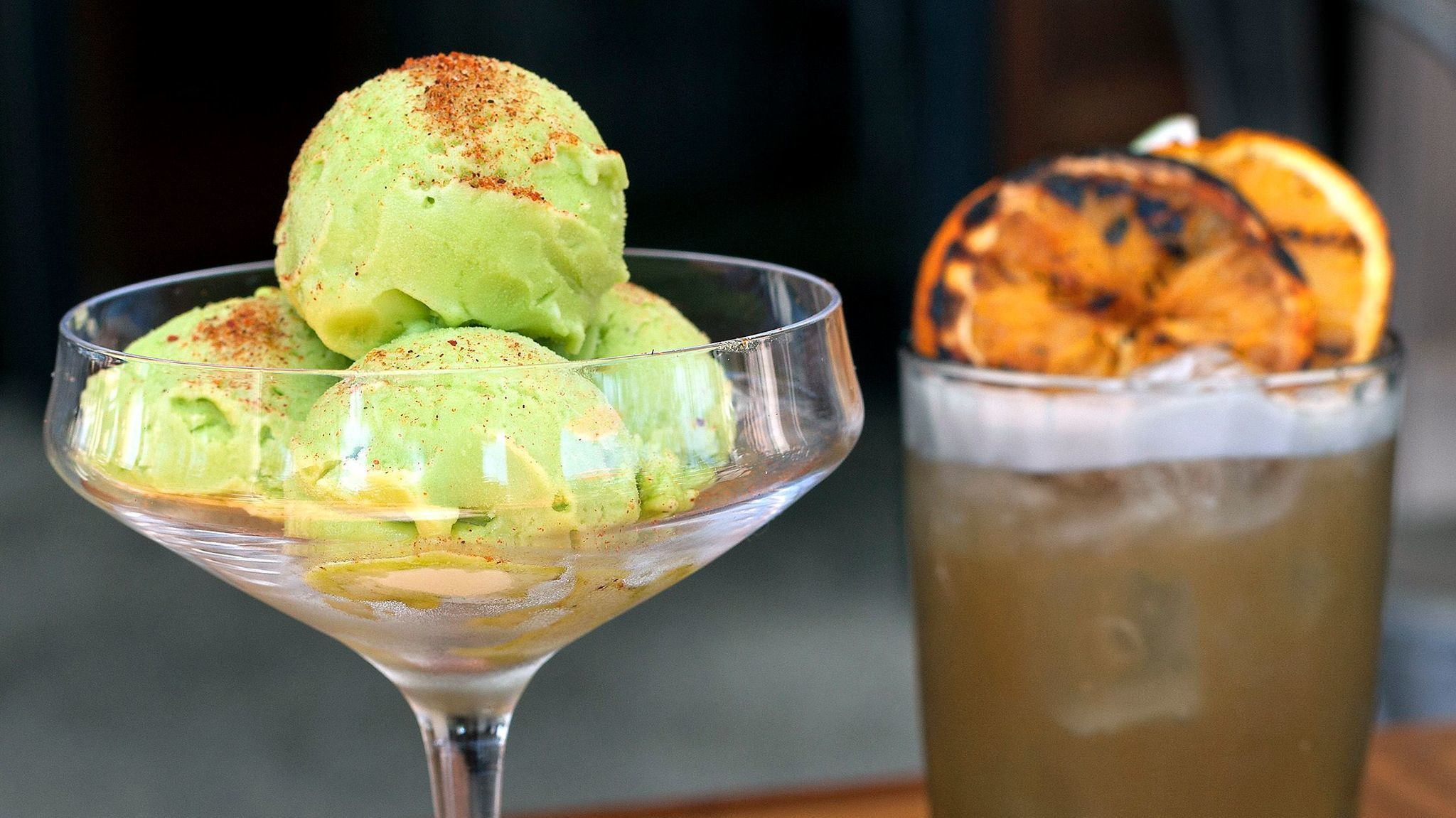 Puesto's nopal sorbet, made from the meat of desert cactus, is best when savored with a shot of mezcal.
