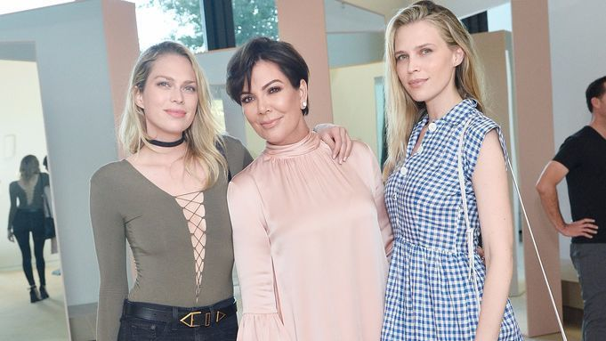 Erin Foster, left, Kris Jenner and Sara Foster attend a party for Kim Kardashian West's new makeup line, KKW Beauty.