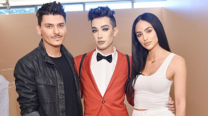 Mario Dedivanovic, left, James Charles and Ashley Holm attend Kim Kardashian West's launch party for her KKW Beauty line.
