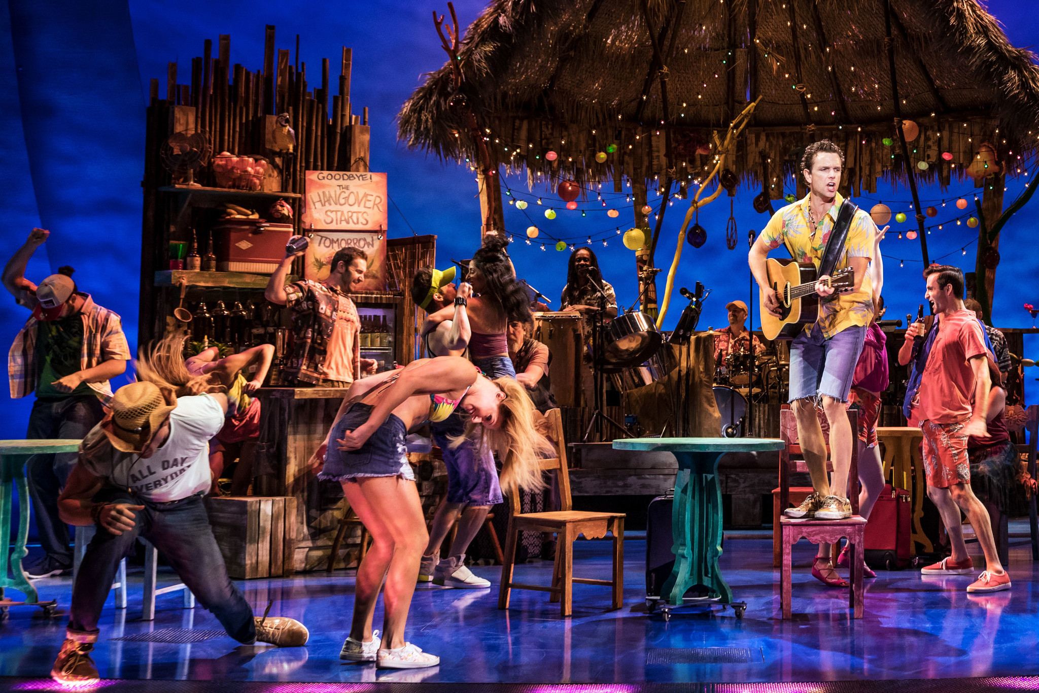"Paul Alexander Nolan and the cast of ""Escape to Margaritaville."""
