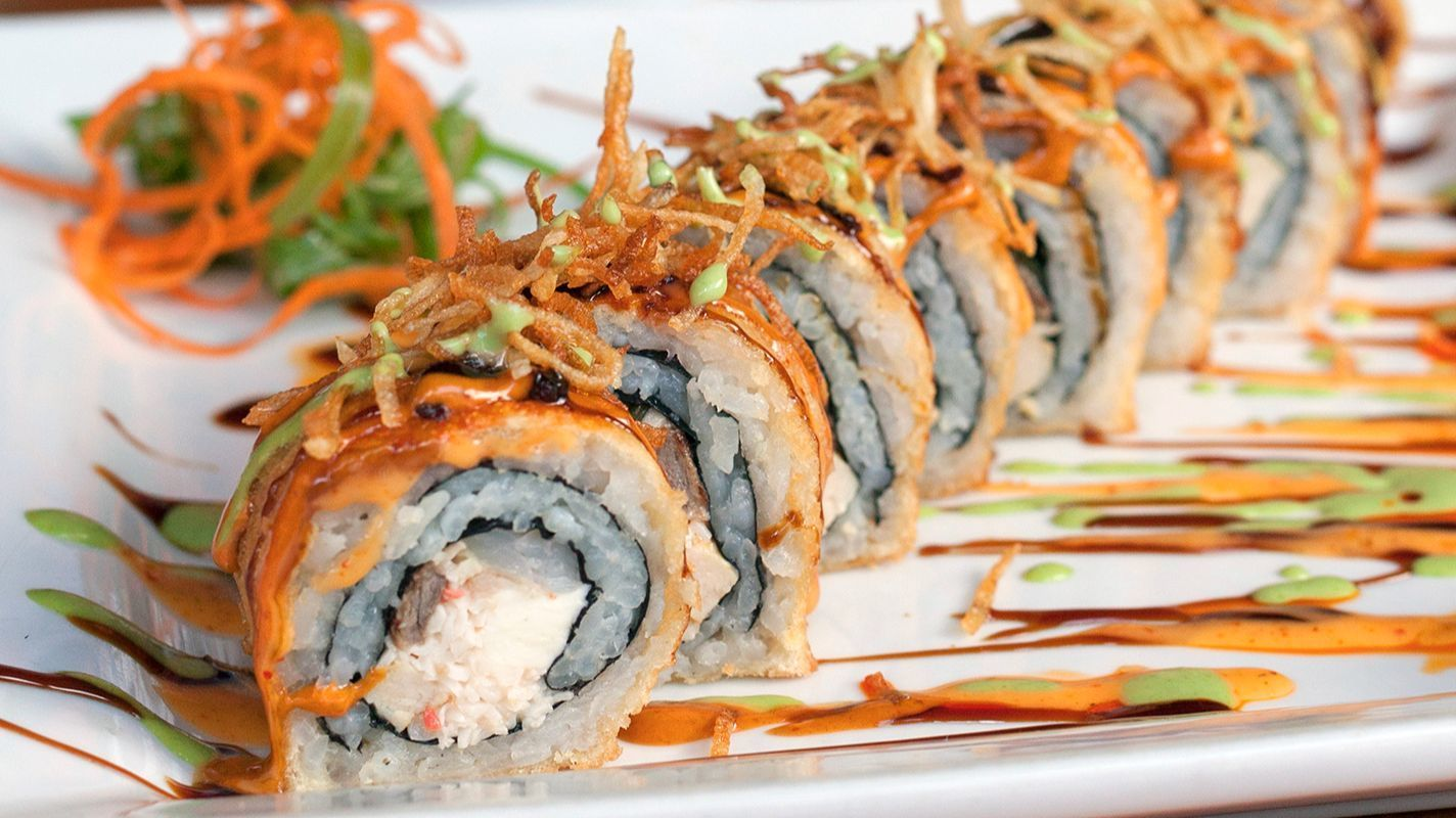 Mexican sushi is a mash-up of food traditions that rolls everything from shrimp to chicken to carne asada into sauce-slathered, deep-fried rolls.