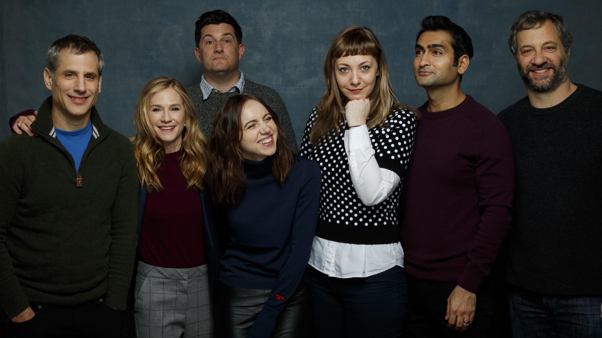 """The Big Sick"" gang at Sundance: From left, producer Barry Mendel, actress Holly Hunter, director Michael Showalter, actress Zoe Karan, writer Emily V. Gordon, writer and star Kumail Nanjiani and producer Judd Apatow."