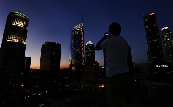 At 1,100 feet tall, the Wilshire Grand is the tallest building west of the Mississippi River. (Mel Melcon / Los Angeles Times)