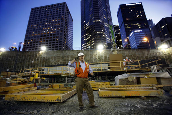 Michael Marchesano, general superintendent for the Wilshire Grand project, oversees construction in March 2014. (Mel Melcon / Los Angeles Times)