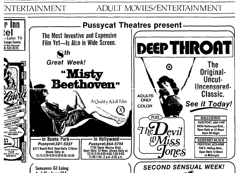 "In the 1970s, the era of ""porno chic,"" The Times ran ads for adult theaters — including for screenings of ""Deep Throat"" and ""Misty Beethoven."""