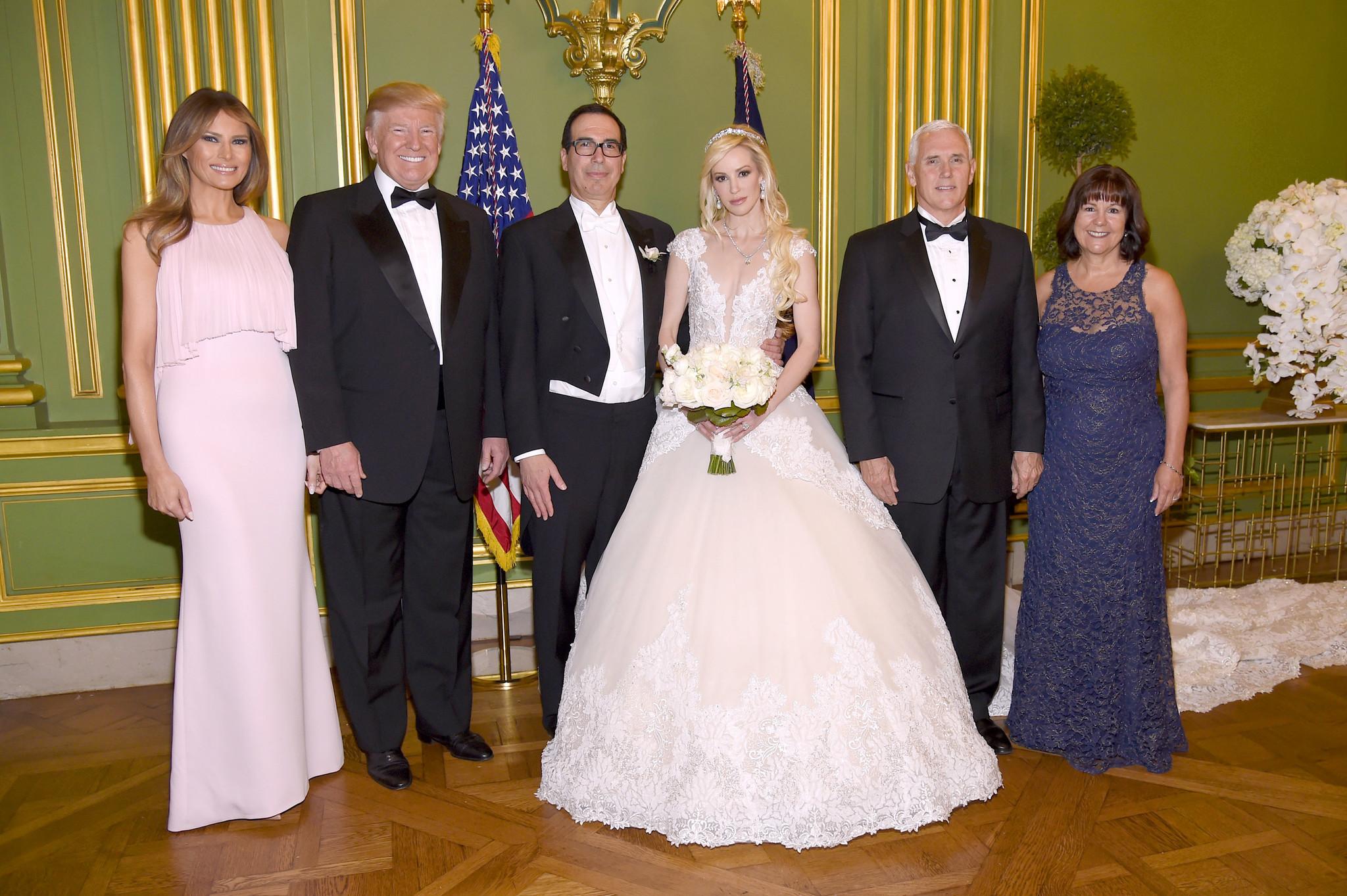First Lady Melania Trump, President Trump, Treasury Secretary Steven T. Mnuchin, Louise Linton, Vice President Mike Pence and Karen Pence at Mnuchin's wedding in Washington on June 24, 2017. (Kevin Mazur / Getty Images)