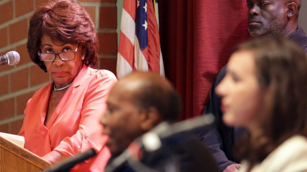 Rep. Maxine Waters speaks out on GOP healthcare bill at packed town hall meeting, as protesters rally outside
